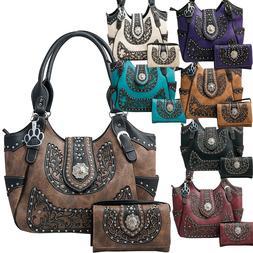 Western Handbag Scroll Rhinestone Concho Buckle Concealed Ca