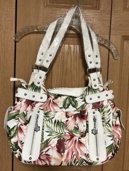 Angel Kiss White & Pink Tropical Print Purse Large, NWT!