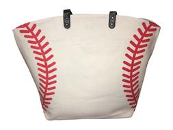 Baseball Canvas Tote Bag, White w Red Seams