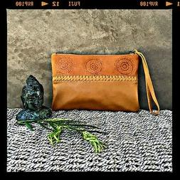 WOMAN BROWN LEATHER Genuine Handmade Bag Clutch Wallet and W