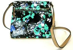 Merona woman's bag purse black and teal flower print