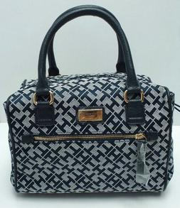 woman s handbag navy blue white gold