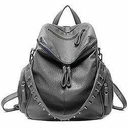 UTO Women Backpack Purse 3 ways PU Washed Leather Rivet Stud