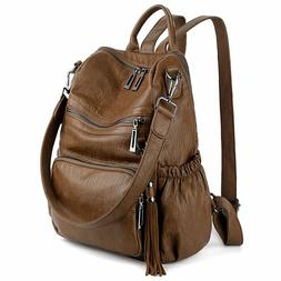 Uto Women Backpack Purse Pu Washed Leather Convertible Ladie