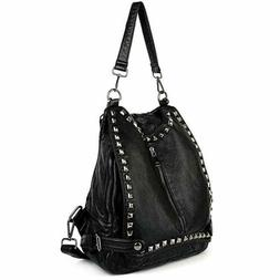 women backpack purse pu washed leather rivet