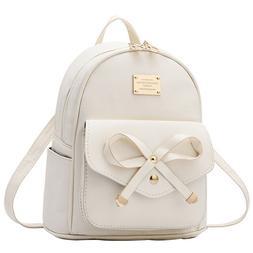 Women Bowknot Cute Faux Leather Backpack Mini Purse for Juni