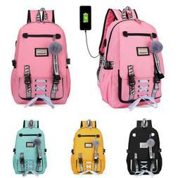 Women Canvas Girls School Bag Backpack Waterproof w/Anti The