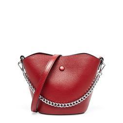 Women Chain Bucket Cowhide Leather Handbags Small Tote Shoul
