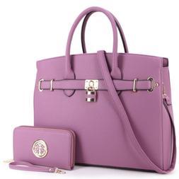 Women Classic Handbags Satchel Bags w/ Matching Wallet Purse