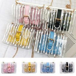 Women Clear Chain Crossbody Bag Transparent Shoulder Handbag