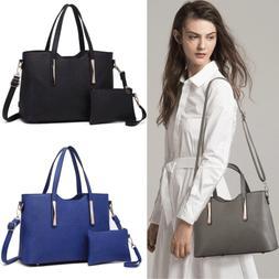 Women Fashion PU Leather 2 pcs Handbag Tote Medium Shoulder