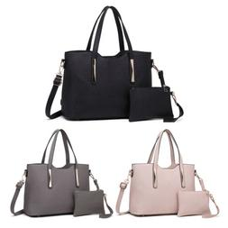 Women Fashion PU Leather 2 pcs Handbag Tote Medium Shoulder