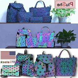 Women Geometric Laser Diamond Backpack Handbag Luminous Fold