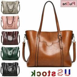 Women Large Retro Handbag PU Leather Shoulder Bag Messenger