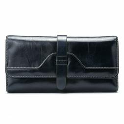 Women Long Genuine Leather Wallet Trifold Strap Cowhide Purs