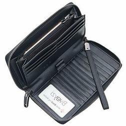 Women RFID Blocking Wallet Leather Zip Around Clutch Large T