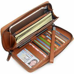 Bveyzi Women RFID Blocking Wallet Leather Zip Around Phone C