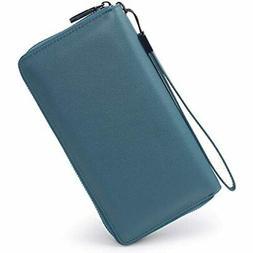 Women RFID Blocking Wallet Leather Zip Around Phone Clutch L
