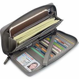 Bveyzi for Women RFID Blocking Wallet Leather Zip Around Pho