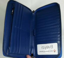 women rfid blocking wallet navy leather phone