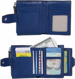 AINIMOER Women RFID Leather Bi-fold Zipper Pocket Wallet Car