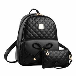 Women's 2PC Bowknot Cute Backpack PU Leather Daypack School