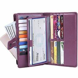 Itslife Women's Big Fat RFID Leather Wallet Checkbook Holder