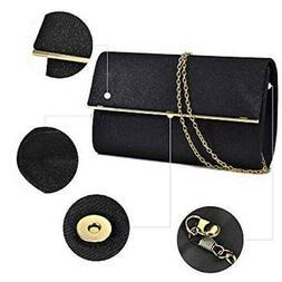 Dasein Women's Black and Gold Glitter Handbag Clutch Purse