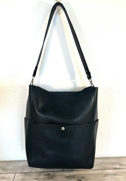 Bostanten Women's BLACK Leather Tote Purse Large Shoulder Bu
