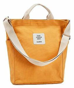 Dreubea Women's Casual Tote Shoulder Bag Canvas Crossbody Pu