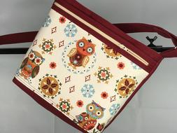 Women's Fun cross body purse -Hand Made~Owls~ Tan and Burgun