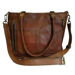 Genuine Vintage Leather Womens Shoulder Tote Handbag Purse S