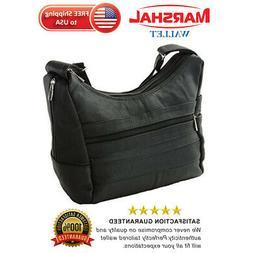 Women's Genuine Leather Purse Mid Size Multiple Pocket Shoul