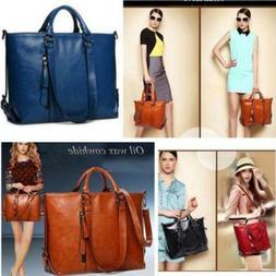 Women's Lady Faux Leather Handbag Briefcase Tote Shoulder Me