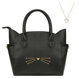Women's Large Cross Body Black Cat Spacious Fashion Cute Lea