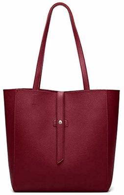Dreubea Women's Large Tote Shoulder Handbag Soft Leather Sat