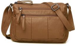Women's Leather Organizer Purse Shoulder Bag Multiple Pocket
