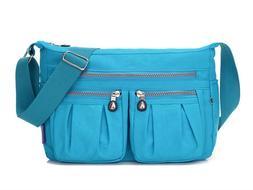 Women's Multi Pocket Shoulder Bag Waterproof Nylon Purses Ha