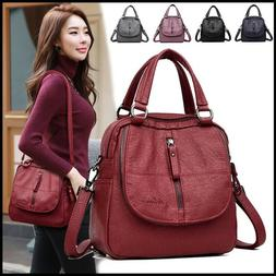 Women's Multifunctional Leather Handbag Large Capacity Backp