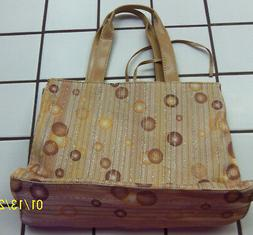 WOMEN'S PURSE TOTE BAG TAN, STRIPE WITH CIRCLES AND GLITTER