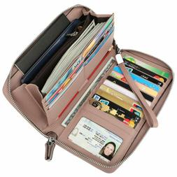 Women's RFID Blocking Real Leather Zip Around Wallet Clutch