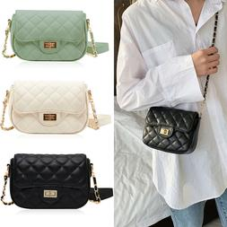 Women's Small Flap Crossbody Handbag PU Quilted Rhombic Purs