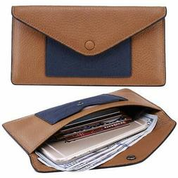 Itslife Womens Leather Envelope Wallet RFID Blocking, Ultra