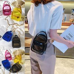 Women Transparent PVC Clear Alphabet Jelly Bag Tote Handbag