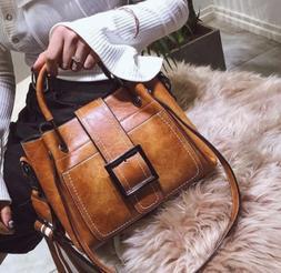Women Vintage Leather Handbag Shoulder Bags Tote Boho Crossb