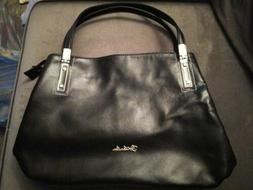 BOSTANTEN Womens Black Leather Zip Top Handbag Tote Purse Sh