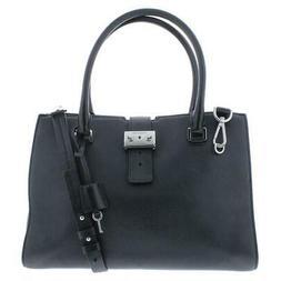 MICHAEL Michael Kors Womens Black Pebbled Satchel Handbag Pu