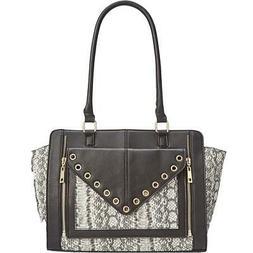 INC Womens Bridget  Black Faux Leather Tote Handbag Purse Me