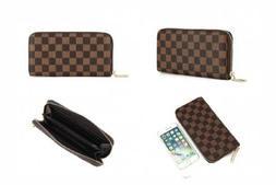 Daisy Rose Women's Checkered Zip Around Wallet and Phone C