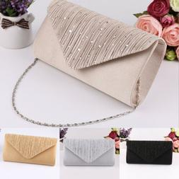 Womens Elegant  Envelope Clutches Bags Diamante Wedding Even